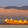 Matson Ship, Bay Bridge, and Mt Tamalpais With Fog over SF Bay