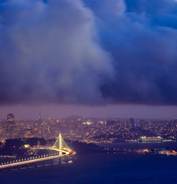 Bay Bridge, Downtown San Francisco, and Fog Bank