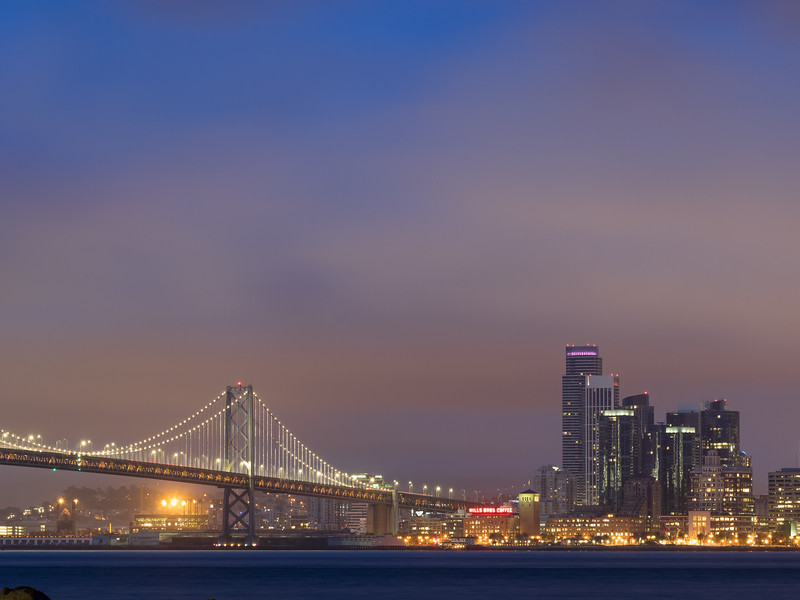 Bay Bridge and Downtown SF Before Dawn, May 2016