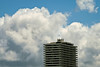 Clouds and Top of Downtown Apartment Building, Oakland CA
