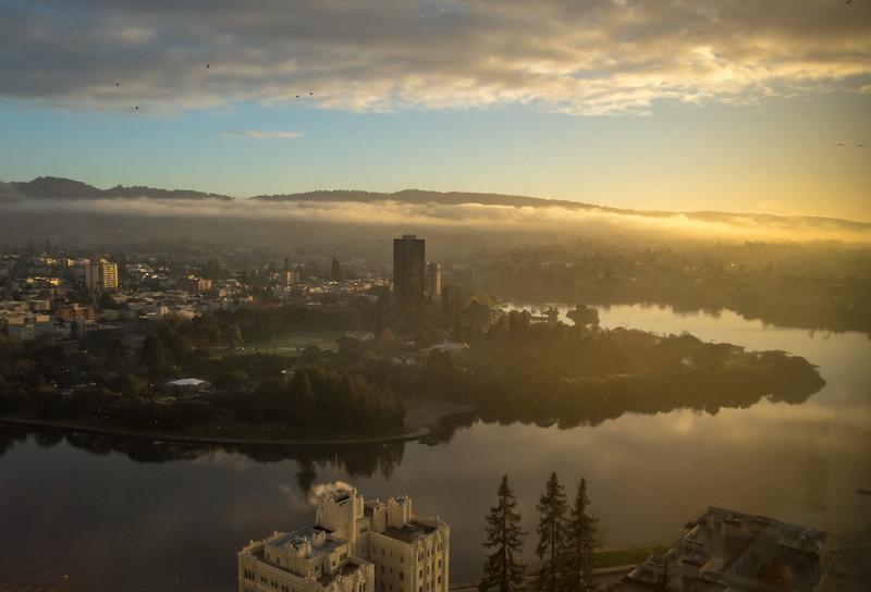 Lake Merritt, Downtown Oakland, and Foggy Sunrise