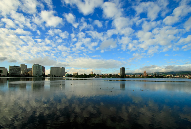Lake Merritt and Oakland Skyline after Winter Storm