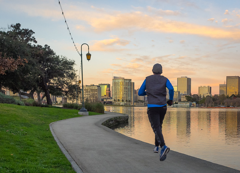Jogger on Winter Morning, Lake Merritt