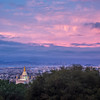 Pink Pre-Dawn Sky over Bay Area and Mormon Temple