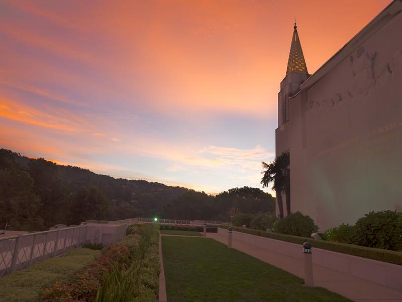 Mormon Temple and Orange Sunrise Clouds