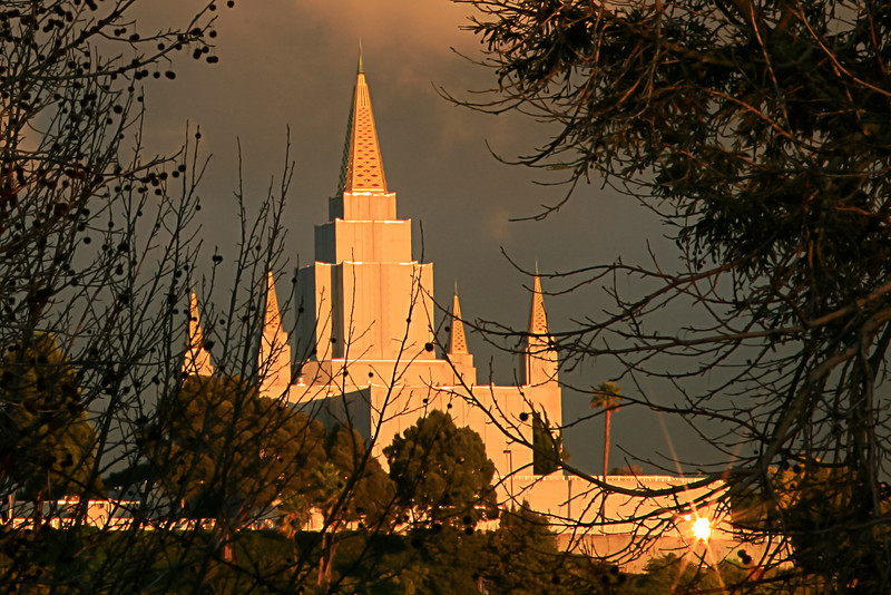 Mormon Temple with Radiating Sunbeam, Oakland CA