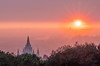 Mormon Temple and Sun Setting through Wildfire-Driven Sky