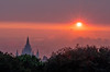 Mormon Temple and Wildfire-Colored Sunset