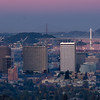 Downtowm Oakland, Bay Bridge Tower, and Golden Gate Bridge Tower after Sunset