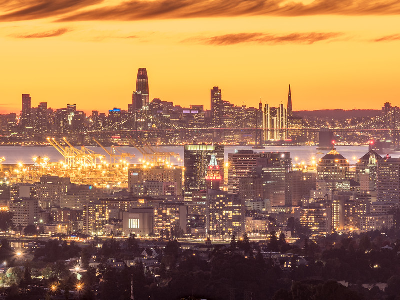 Dusk Falling over SF Bay with Holiday Lights