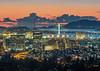 Downtown Oakland, Bay Bridge, and Golden Gate Bridge After Sunset