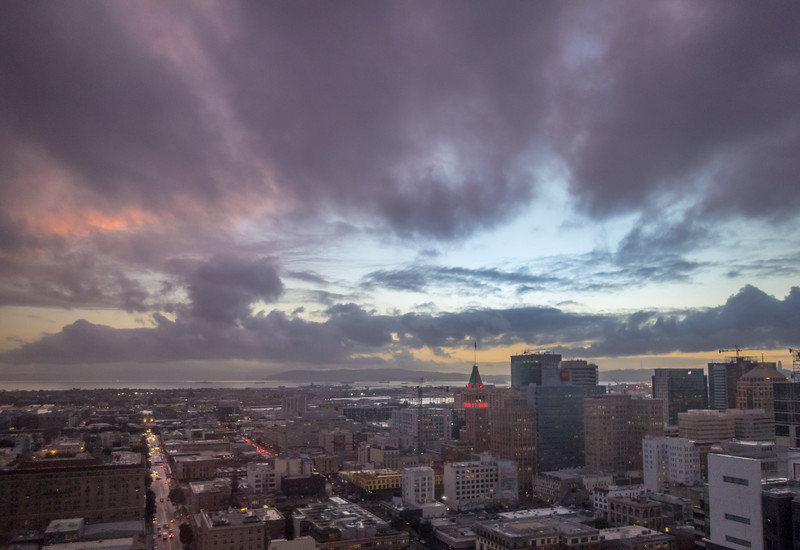 Looking Down on Oakland and SF Bay at Dusk