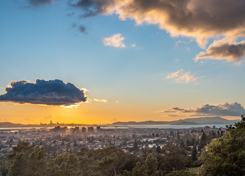 Oakland, SF, and Mt Tamalpais Under Clouds and Setting Sun