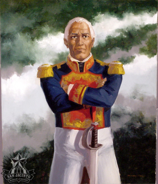 Oil on canvas; painting by Charles Shaw depicting General Manuel Fernández Castrillón awaiting death at the hands of Texan soldiers during the Battle of San Jacinto.