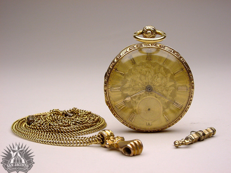 "Gold pocket watch with key and chain, presented to Dr. George Moffett Patrick by Mexican General Martín Perfecto de Cos after the Battle of San Jacinto ""as a token of appreciation for medical aid rendered him while a prisoner."""