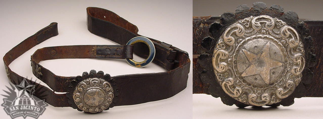 Martingale with a large silver center emblem containing a five-pointed star that belonged to Antonio López de Santa Anna.  It was auctioned to Sidney Sherman in the sale of captured goods following the Battle of San Jacinto.