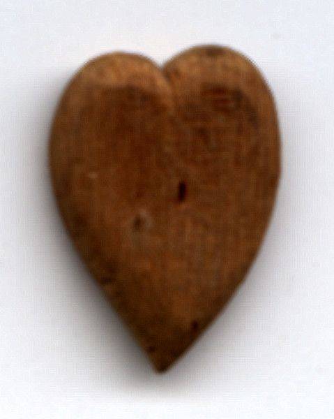 Whittled wooden heart, said to have been made by Sam Houston.