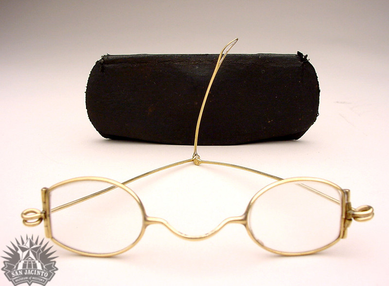 Eyeglasses, with their case, worn by William H. Jack, veteran of the Battle of San Jacinto.