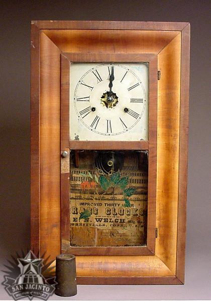 Wall clock, late 19th century, owned by San Jacinto veteran Jennings O'Banion.