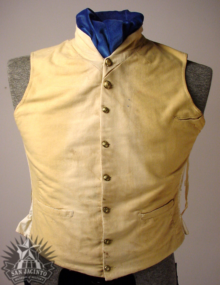 Military uniform waistcoat; cream velvet front with three pockets and a high collar, with eight brass buttons.  Belonged to Sidney Sherman.  Believed to have been worn at the Battle of San Jacinto.