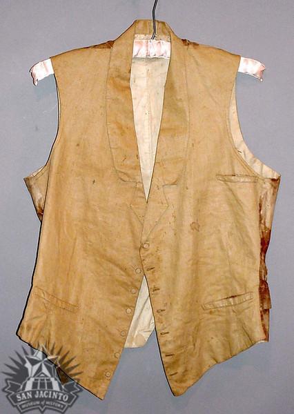 Tan cotton vest, worn during the Battle of San Jacinto by Nicholas S. Crunk.