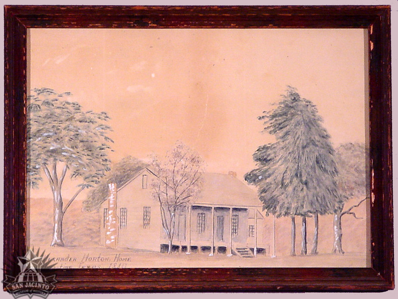 """Watercolor painting of the home of Colonel Alexander Horton at San Augustine.  Depicts double shotgun-style house surrounded by trees.  Inked in lower left corner: """"Col. Alexander Horton Home/ San Augustine, Texas. 1840."""""""