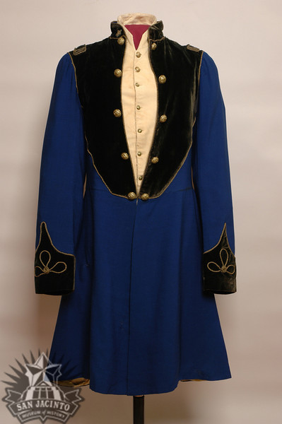 Military uniform tail coat made of blue wool, with a black velvet collar, epaulets, facings, and cuffs trimmed with gold cord.  Belonged to Sidney Sherman; believed to have been worn at the Battle of San Jacinto.