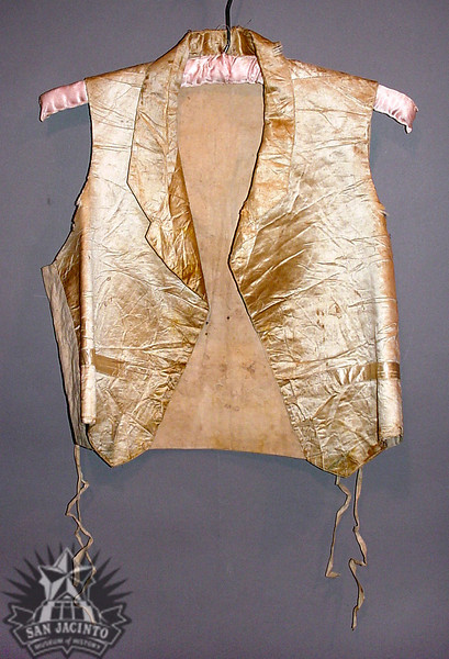 White silk vest with a linen lining and back, worn by Dr. Alexander Wray Ewing at his marriage to Elizabeth Graham, sometime between 1845 and 1850.