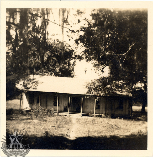 """""""John Marshal Wade home, one mile north of Montgomery, north of Town Creek, on the west side of the road.  This was taken in the late 1890's, when it was used as a tenant house on a farm.  The house had formerly had larger pillars supporting the front gallery roof."""" - note on back of photograph."""