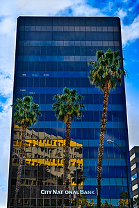City National Bank Building with Three Palm Trees, Downtown San Jose