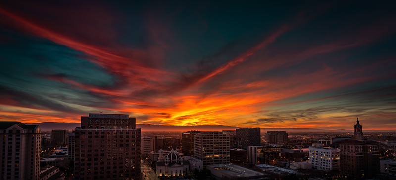 Fiery Sunset, Downtown San Jose, 14 February 2016