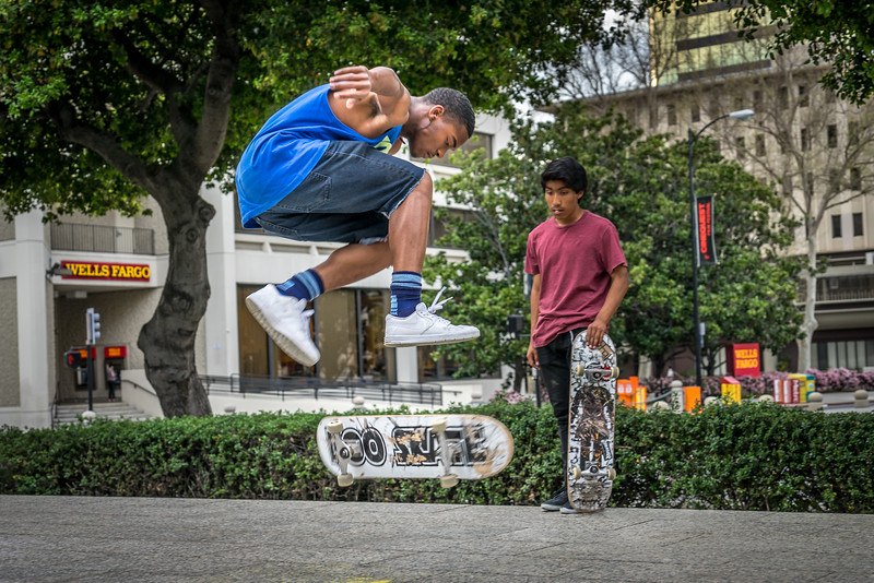 Skateboarder at Plaza de César Chávez in downtown San Jose