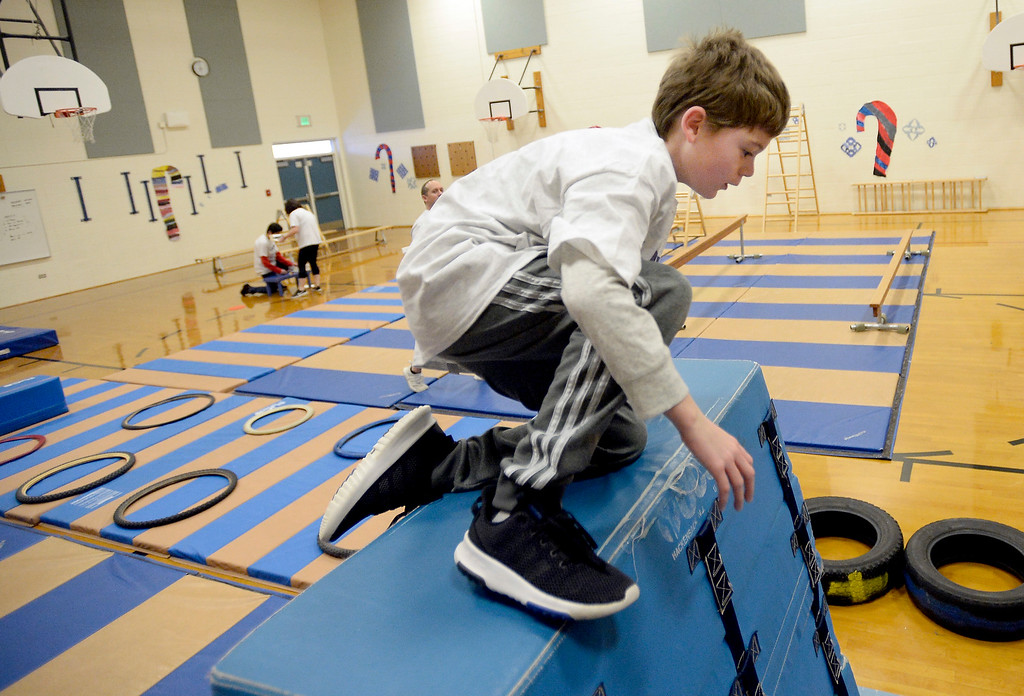 . LAFAYETTE, CO - January 31, 2019: Owen Daniels, a 5th-grader, finishes the ninja course.  Alicia Sanchez Elementary School in Lafayette is working to improve its test scores after getting placed on a turnaround plan based on the state\'s accreditation system. For more photos, go to dailycamera.com. (Photo by Cliff Grassmick/Staff Photographer)