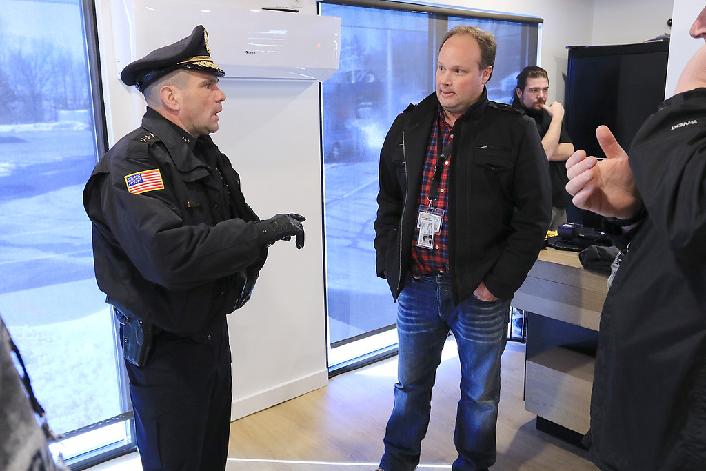 . Sanctuary Medicinals in Gardner has been open for medical sales since November 23, 2018. On Wednesday March 6, 2019 they opened for recreational sales. Gardner Deputy Chief james Trifiro askes so questions of CEO Jason Sidman on his visit to their facility just before they opened for recreational sales.  SENTINEL & ENTERPRISE/JOHN LOVE