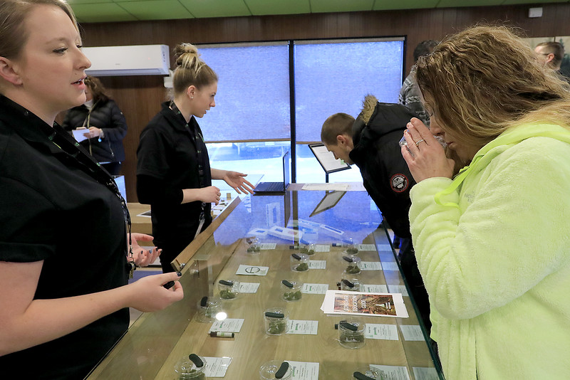 Sanctuary Medicinals in Gardner has been open for medical sales since November 23, 2018. On Wednesday March 6, 2019 they opened for recreational sales. Patient Care Advisor Liz Hinde , on left, works with customer jaeann Labonte as she tries to decide which strand of cannabis she wanted.   SENTINEL & ENTERPRISE/JOHN LOVE