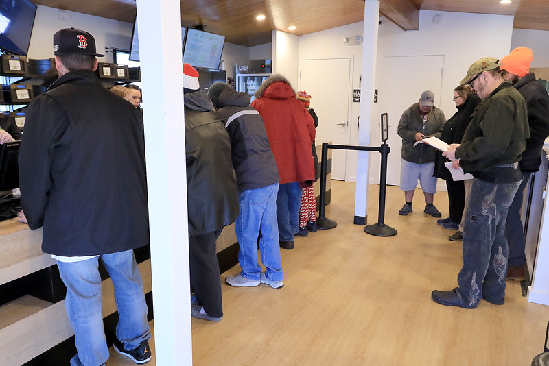 Sanctuary Medicinals in Gardner has been open for medical sales since November 23, 2018. On Wednesday March 6, 2019 they opened for recreational sales. Customers checkout. SENTINEL & ENTERPRISE/JOHN LOVE