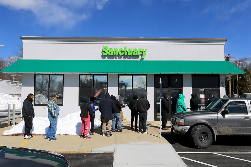 Sanctuary Medicinals in Gardner has been open for medical sales since November 23, 2018. On Wednesday March 6, 2019 they opened for recreational sales. People had to sign up on line for a time to come and buy what they wanted so the lines were not very long nor was the wait. SENTINEL & ENTERPRISE/JOHN LOVE