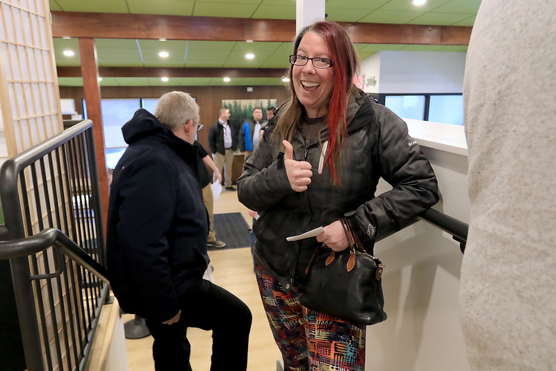 Sanctuary Medicinals in Gardner has been open for medical sales since November 23, 2018. On Wednesday March 6, 2019 they opened for recreational sales. Heather Larivee from New Hampshire waits in line to check out. SENTINEL & ENTERPRISE/JOHN LOVE