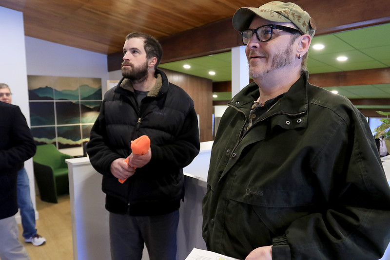 Sanctuary Medicinals in Gardner has been open for medical sales since November 23, 2018. On Wednesday March 6, 2019 they opened for recreational sales. Paul Stocknaster, in glasses, of Gardner waits in line to check out. SENTINEL & ENTERPRISE/JOHN LOVE