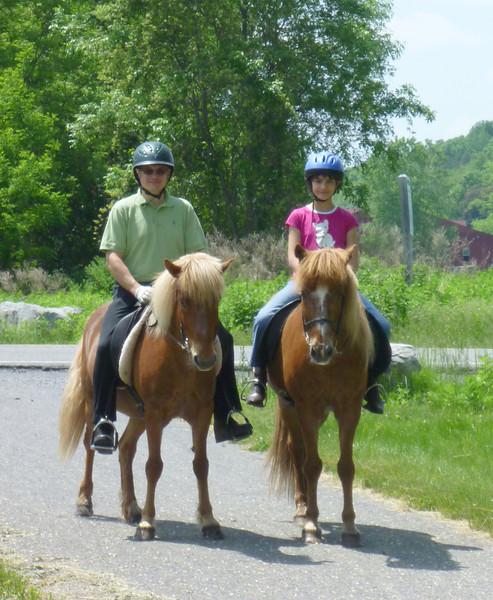 Steve riding Sailor and Kestrel riding Kraftur - Lehigh Valley Trail<br>June 2011