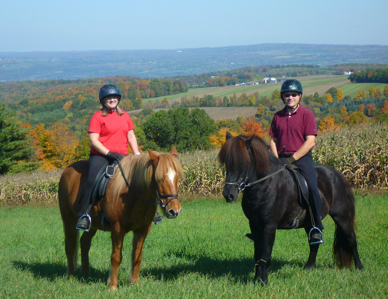 Andrea riding Vikingur - Steve riding Hrokur Sugar Creek Farm  - Ossian, NY October 2011 (<i>photo: Cherrie Mahon</i>)