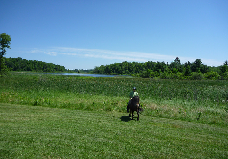 Steve riding Kalman around the Deep Pond <br /> Mendon Ponds Park<br /> June 2011