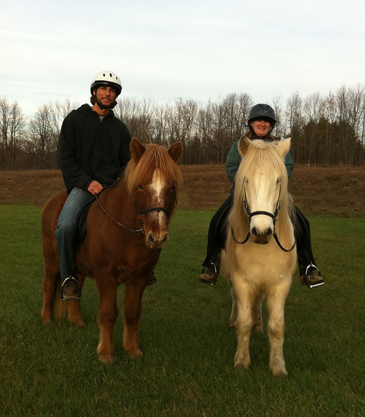 Mark riding Kraftur - Andrea riding Steinrikur  Sand Meadow Farm  - Mendon, NY December 2011 (<i>photo:  Steven Barber</i>)