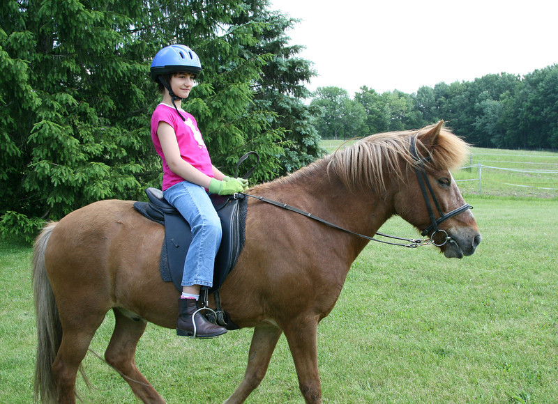 Kestrel riding Kraftur<br /> Sand Meadow Farm<br /> June 2011