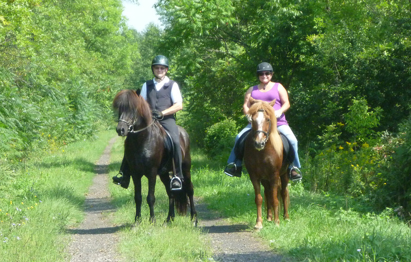 Steve riding Hrokur and Marilynn riding Kraftur <br /> Genesee Valley Greenway<br /> September 2, 2011