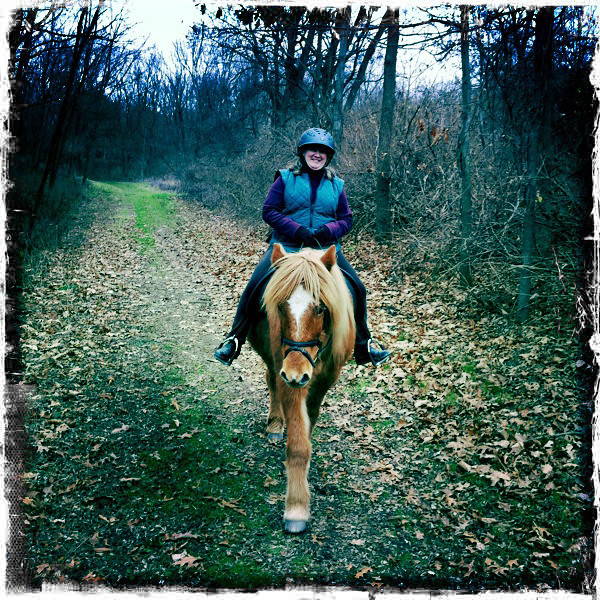 Andrea riding Vikingur Mendon Ponds Park December 2011 (<i>photo:  Steven Barber</i>)