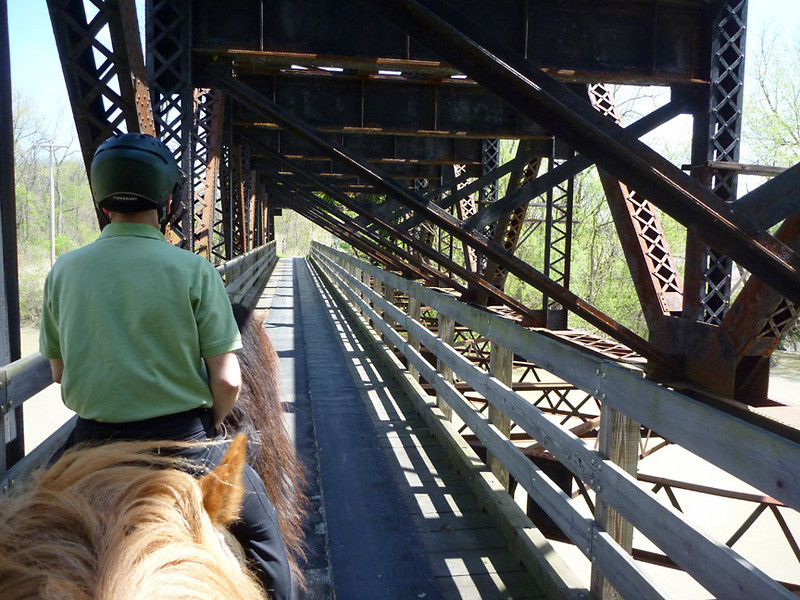 Riding over the bridge over the Genesee River <br /> Lehigh Valley Linear Trail<br /> May 8, 2011