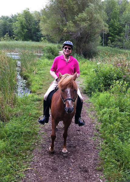 Steve's father Bill, riding Kraftur around the 100 Acre Pond  Mendon Ponds Park August 2011 (<i>photo:  Steven Barber</i>)
