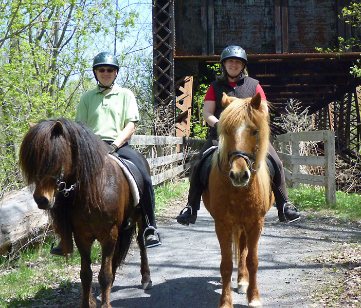 Steve riding Kalman and Andrea riding Víkingur <br /> Lehigh Valley Linear Trail<br /> May 8, 2011