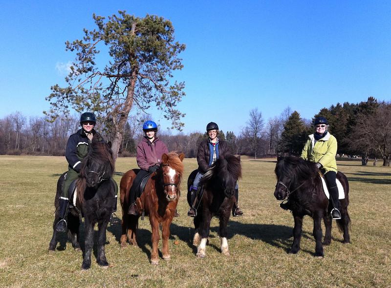 Steve and Hrokur - Kestrel and Kraftur - Deb and Flygill - Stephanie and Ogri<br /> Mendon Ponds Park - January, 2012